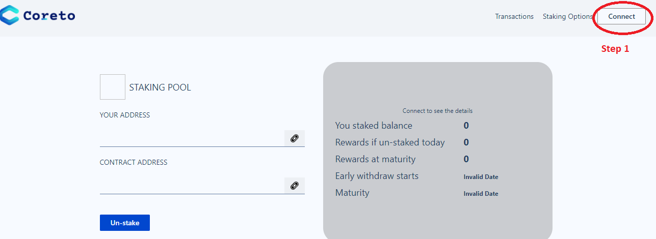 Click on Connect and authorize your MetaMask to be connected to the staking Smart Contract