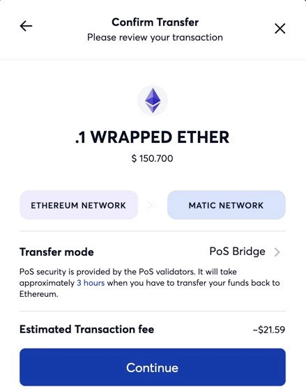 Transferring your assets from the Ethereum Mainchain to the Matic Mainnet — step 5