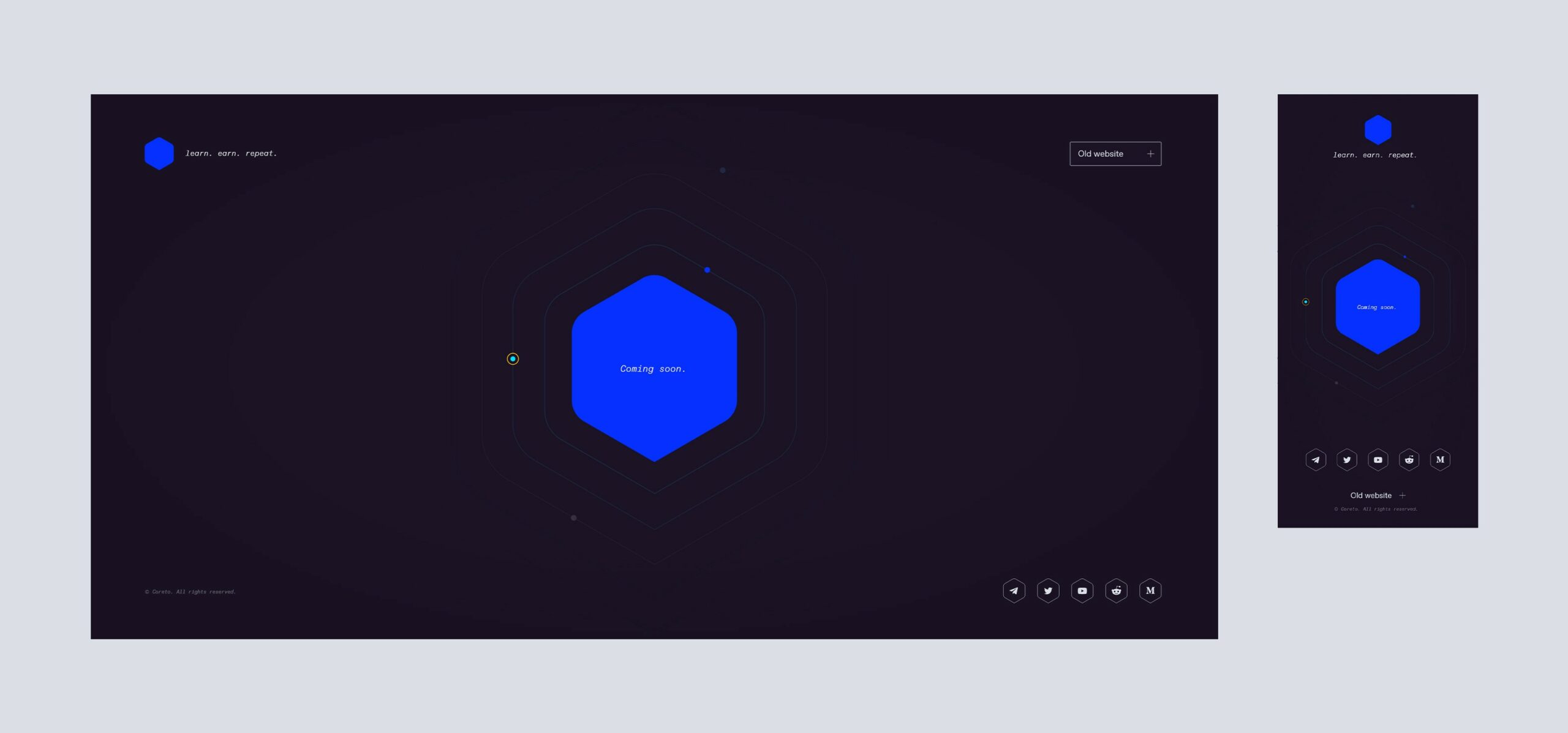 Coreto's Coming Soon website — Stage 0.