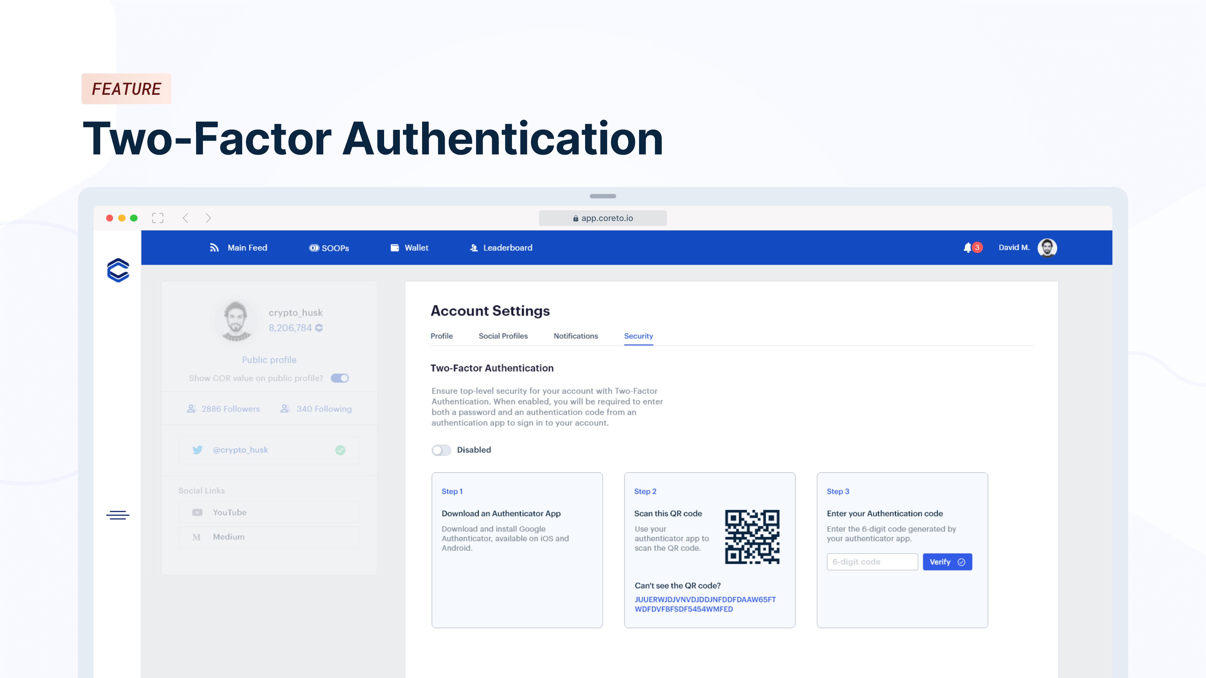 Coreto.io   Two-Factor Authentication